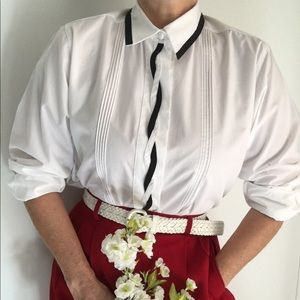 Vintage Classic White Blouse Corded Front